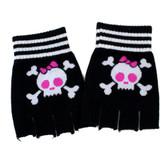 Black skull fingerless gloves.
