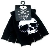 Black knitted fingerless gloves with white skull.