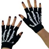 Black fingerless gloves with white skeleton bones on knuckles.