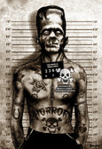 Frankenstein Mugshot by Marcus Jones Screaming Demons Canvas Giclee Art Print