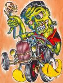 Franken Hot Rod by Sid Stankovits Canvas Giclee Art Print Frankenstein