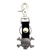 Skull and crossbones leather key chain.