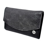 Gray distressed leather wallet.