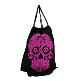 Purple Day of the Dead skull on drawstring backpack sack.