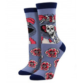 Women's Bamboo Skull and Roses Blue Crew Socks
