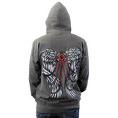 Lightweight gray hoodie with cross and wings.