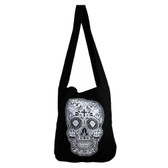 White and black Day of the Dead sling bag.