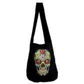 Black canvas hobo bag with colorful day of the dead skull.