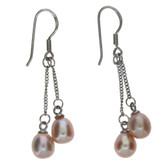 Pink sterling silver dangle earrings.