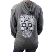 Gray lightweight hoodie with Day of the Dead sugar skull on back.