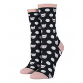Kitty Cat Polka Dog Women's Crew Socks