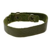 Green leather cuff bracelet.