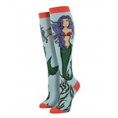 Women's Knee High Socks Mermaid Sea Goddess Blue