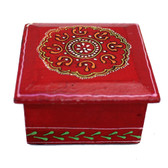 Red hand painted trinket box.