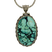Large Turquoise sterling silver pendant.
