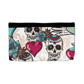 Day of the Dead skull, heart and floral design wallet.