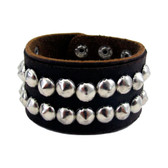 Brown Genuine Leather Bracelet Cuff with Silver Studs