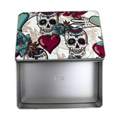 Day of the Dead Sugar Skull and Flowers Rectangle Metal Tin Stash Box