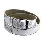 White rugged leather belt.
