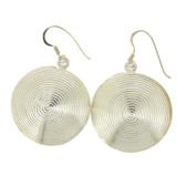 Round disc sterling silver earrings.