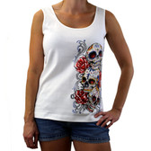 White tank with 3 Day of the Dead skulls.