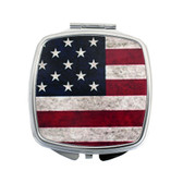 American flag square compact mirror.