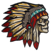 Chief of the Dead Indian Skull Patch Embroidered Iron On Applique