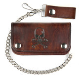 Men's Wallet Antique Brown Genuine Leather Bifold Skull and Crossbones