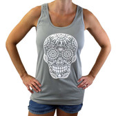 Gray tank top with white Day of the Dead on front.