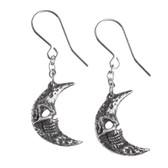 Alchemy Gothic - E385 - Crescent Tragicom Moon Earrings