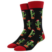 Men's Crew Socks Holiday Christmas Cactus