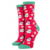 Women's Crew Socks Holiday Christmas Let It Snow Snowmen Red