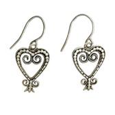 Sterling Silver Heart Dangle Earrings with Bali Design Detail