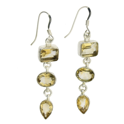 """2"""" Long Yellow Faceted Citrine Dangle Earrings Sterling Silver"""