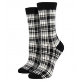 Women's Bamboo Crew Socks Plaid Black & White