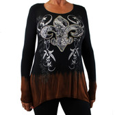 Women's Vocal Black and Brown Shirt Long Sleeve Embellished Fleur de Lis Design
