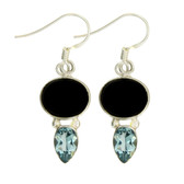 Black Onyx and Blue Topaz Sterling Silver Dangle Earrings