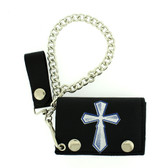 Cross screened on black trifold wallet.