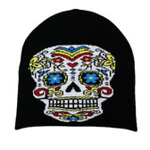Black Beanie with Colorful Day of the Dead Skull