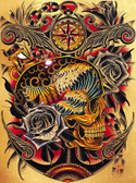 Course by Tyler Bredeweg Canvas Giclee Nautical Skull and Roses