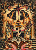 Lost At Sea by Brother Greg Canvas Giclee Art Print American Traditional Nautical Mermaids