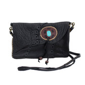 Black Handmade Cowhide Leather Clutch or Crossbody Bag with Stone