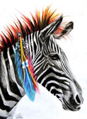 Zebra by Manuela Lai Canvas Giclee Art Print Indian Feathers