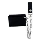 Plain black soft leather trifold wallet.