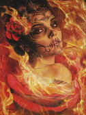 Burning Desire by Daniel Esparza Canvas Giclee Art Print Day of the Dead Beautiful Sugar Skull Mask