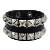 Black pyramid studded leather cuff bracelet.