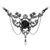 Alchemy Gothic Mesukmus Cherub Angels Black Rose Pendant Necklace Pewter Jewelry P795