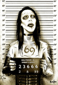 MM Shock Rocker Marilyn Manson Mugshot by Marcus Jones Screaming Demons Canvas Giclee Art Print