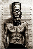 Frankenstein Mugshot by Marcus Jones Screaming Demons Fine Tattoo Art Print