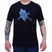Rock n Roll Monster by Mike Bell Men's Black Tattoo Tee Shirt Frankenstein Guitar